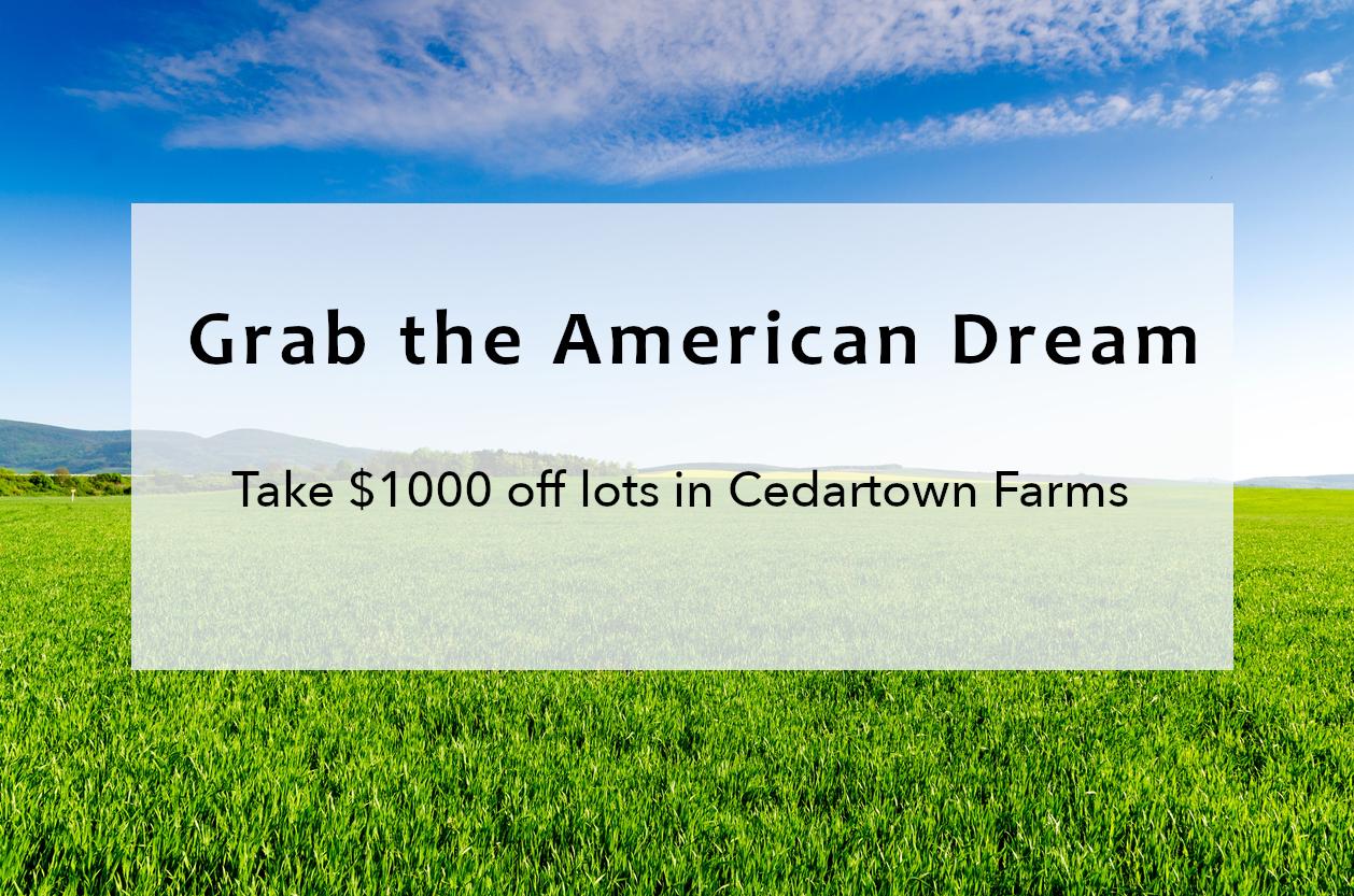 Take $1,000 off any lot in Cedartown Farms, GA