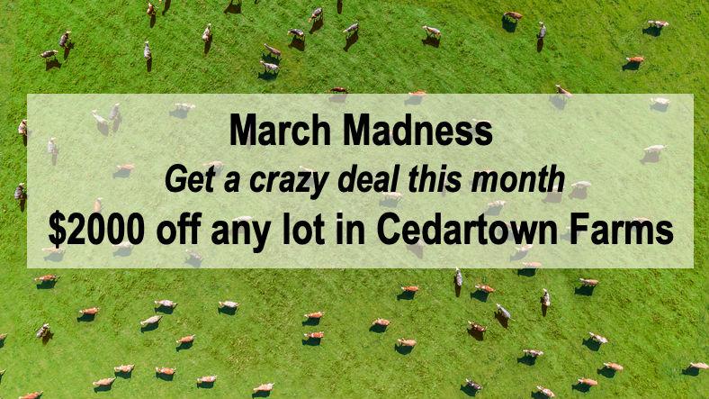 $2,000 off lots in Cedartown Farms