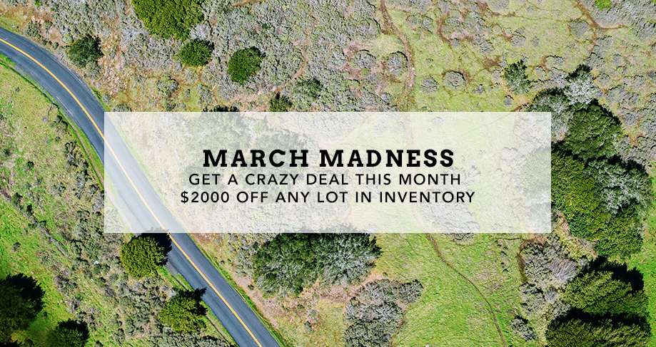 March Madness Deal - $2000 off any lot