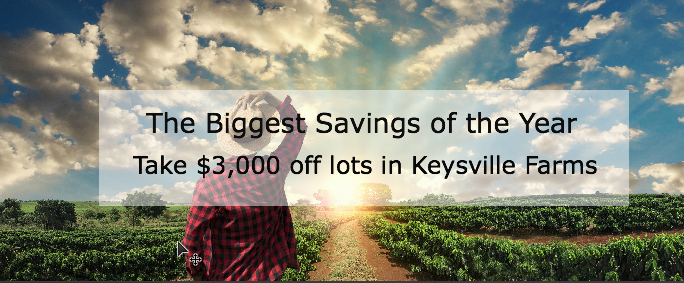 $3,000 of any lot in Keysville Farms
