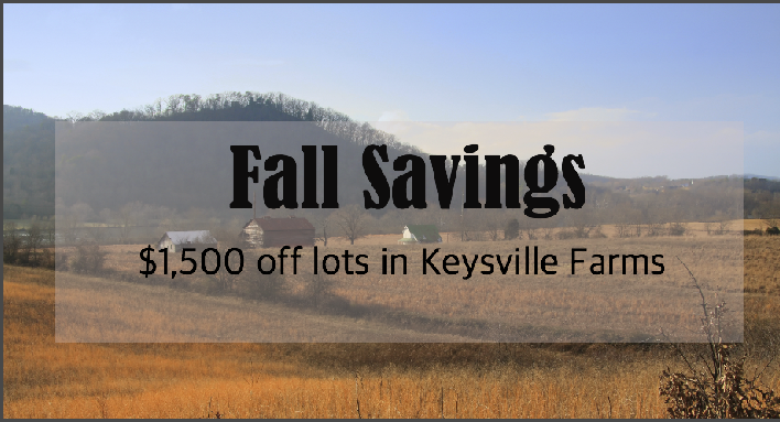 October Land Deal: $1500 off Keysville Farms lots