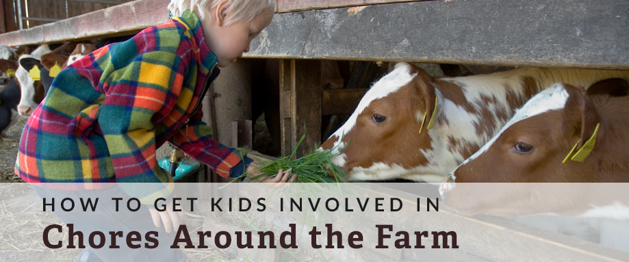 kids doing farm chores